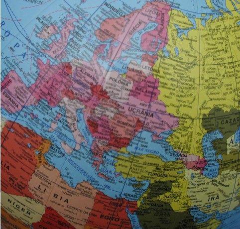 Globo Terrestre Libreria 30cm Continental Pc/Br-Vdt 313352 Polít.Base Pls Verde Turquesa
