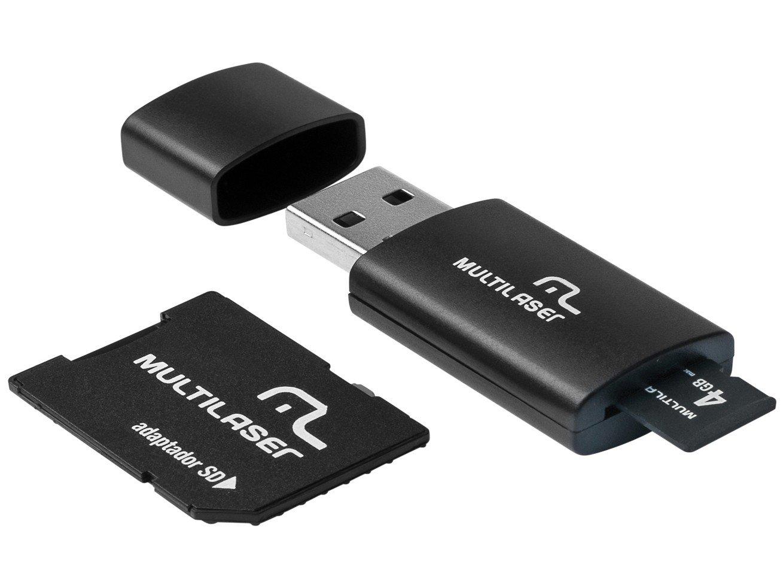 Kit 3 em 1 Pen drive + Adaptador SD + Cartão De Memória 4GB Multilaser - MC057