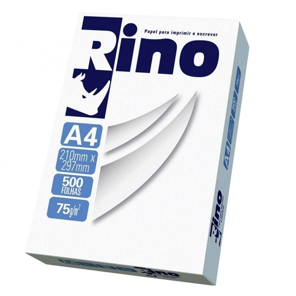 Papel Sulfite A4 Branco Rino 210mm x 297mm 75G Pacote com 500 Folhas