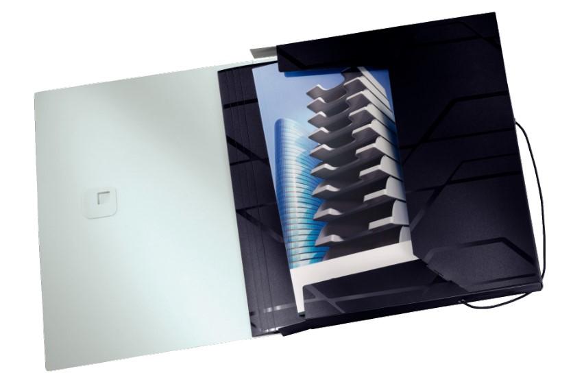 Pasta com elástico Box Esselte Leitz Prestige Preta 63521 capacidade 250 folhas
