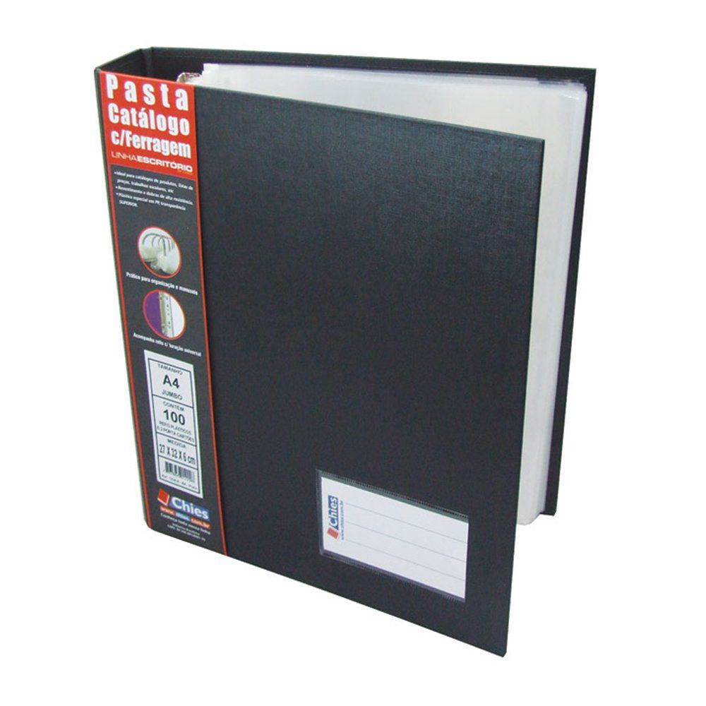 Pasta Catálogo com Ferragem Chies A4 Jumbo com 100 Refis e 2 porta cartões Preta 1224-6