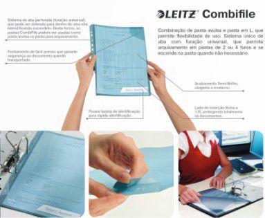 Pasta L Combifile Esselte Leitz Azul Cristal até 40 Folhas com 5 Unidades 63479