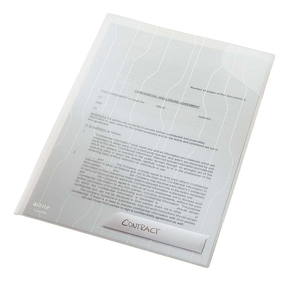 Pasta L Rígida Esselte Leitz Combifile Branco Cristal com 3 unidades capac. 20 fls 63482