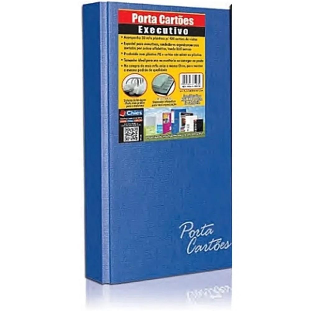 Porta Cartões Chies com Ferragem Executivo 400 Cartões Indice Azul Royal 1581-0