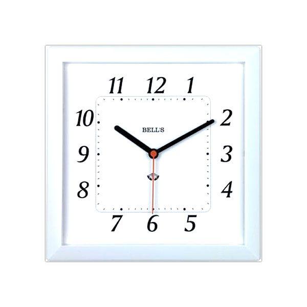 Relogio Bells Branco Quadrado,Borda Branca,24,6x24,6cm