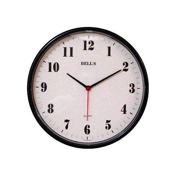 Relogio Bells Branco Redondo Borda Preta 26cm