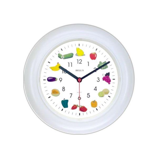 Relógio Bells Branco Desenho Fruta Borda Branca Dim 25cm