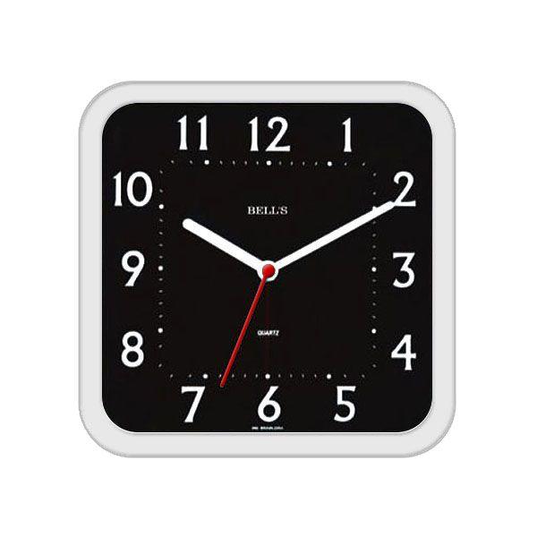 Relógio Bells Preto Quadrado Arredondado Borda Branca 21cm