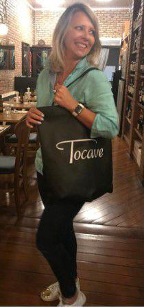 Sacola Ecobag Tocave Retornável TNT Costurada a Mão Preta 40x45cm Elegante e Sustentável