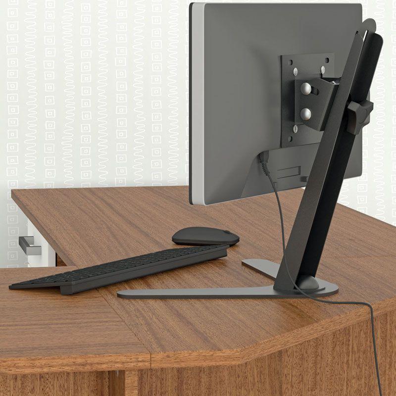 Suporte de Mesa para Monitor Multivisão MT-SLIM Ergonômico NR17 Inclinável ajuste altura 10 a 24 polegadas