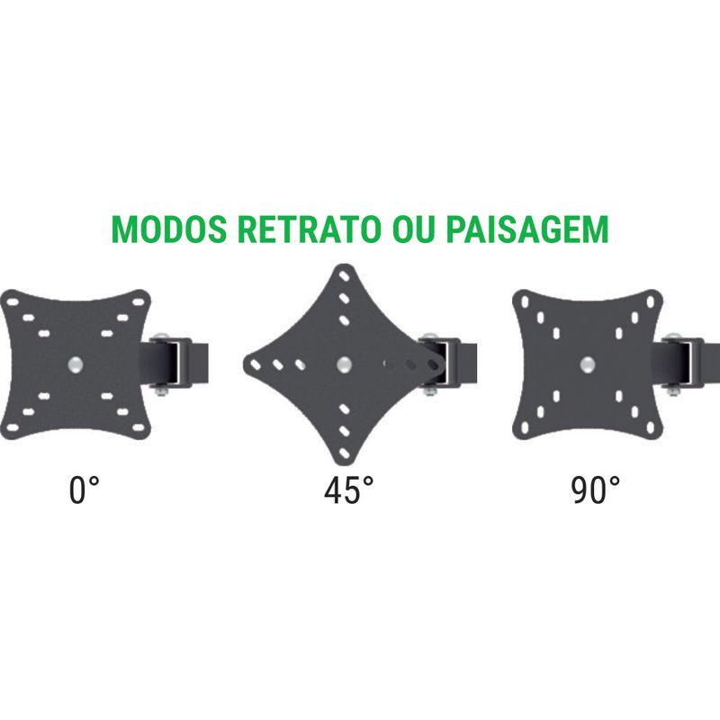 Suporte de mesa triarticulado para 3 monitores Multivisão MT3ERGO Ergonômico NR17 com inclinação de 10 a 24 polegadas