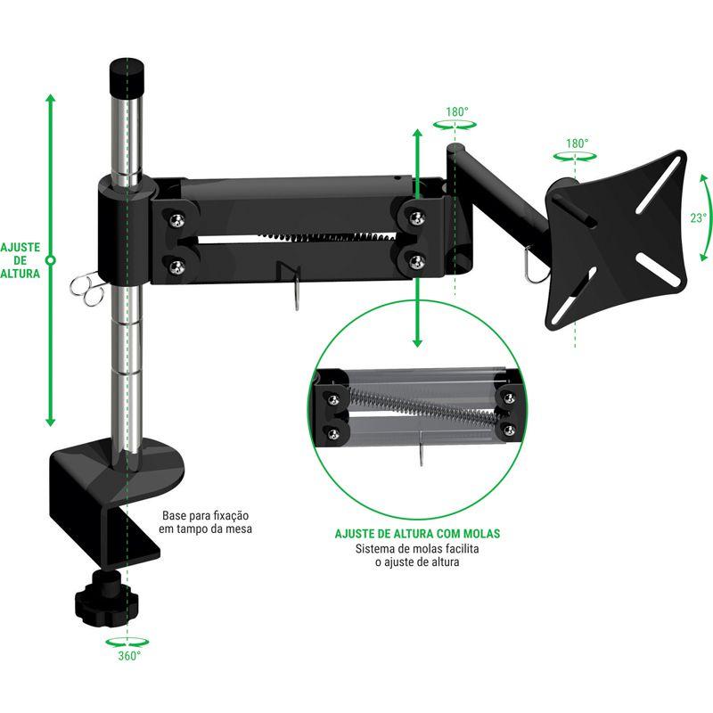 Suporte para monitor Multivisão MT-Ergonomic triarticulado NR17 com inclinação 10 a 24 polegadas