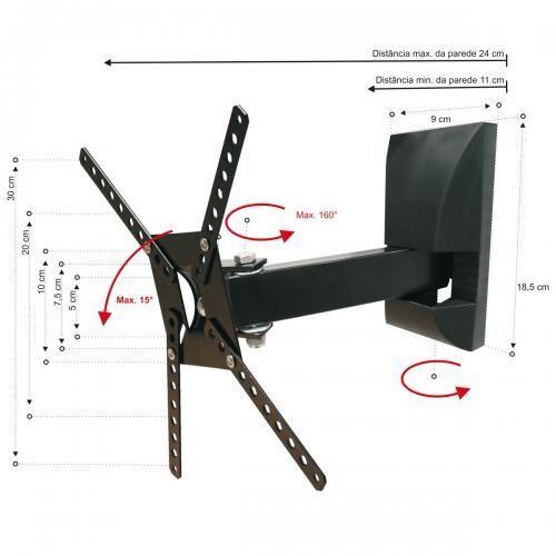 Suporte de Parede Brasform Sbrp130 para Tv de 10 a 55 e 2 Movimentos Verticais