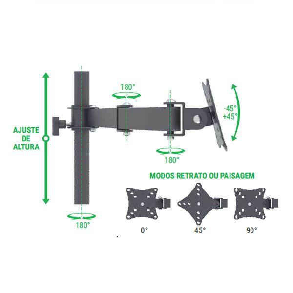 Suporte Multivisão MT6ERGO triarticulado com inclinação para 6 monitores