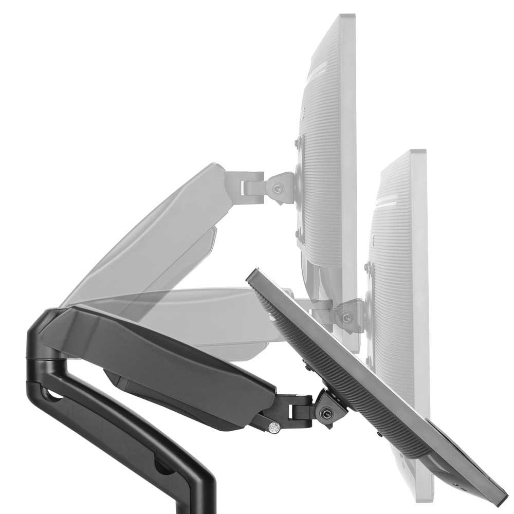 Suporte para 2 monitores Multivisão MT-Duo tri-articulado com pistão de 13 a 27 polegadas NR17 Preto