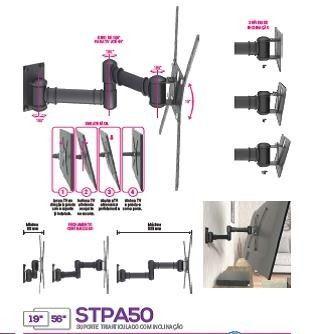Suporte Tv Multivisão Stpa50-Pr Preto Parede Articulado e Inclinação 19 a 56 Pol