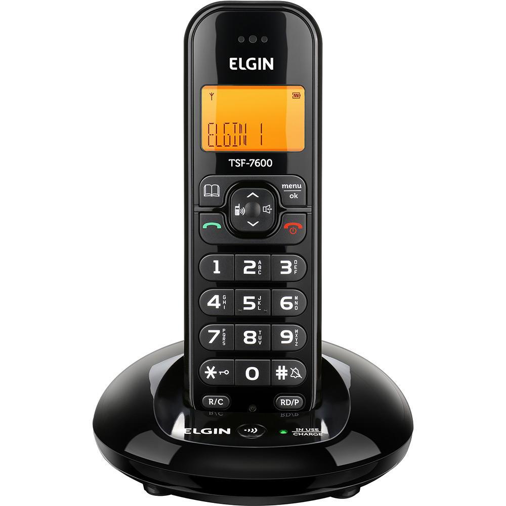 Telefone sem Fio Elgin Tsf 7600 com Identificador de Chamada Preto