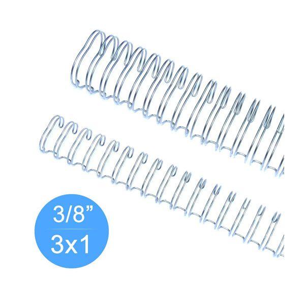 Wire-O Garra Duplo Anel 3/8 A4 3x1 Prata caixa 100 Unidades