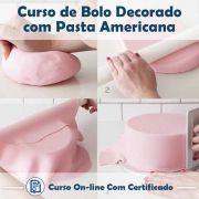 Curso online em videoaula de Bolos Decorados com Pasta Americana com Certificado