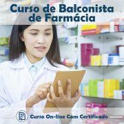 Curso online em videoaula de como ser Balconista de Farmácia com Certificado