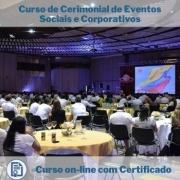 Curso online em videoaula sobre Cerimonial de Eventos Sociais e Corporativos com Certificado