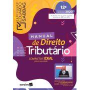 Livro Manual De Direito Tributário - 12ª Ed. 2020