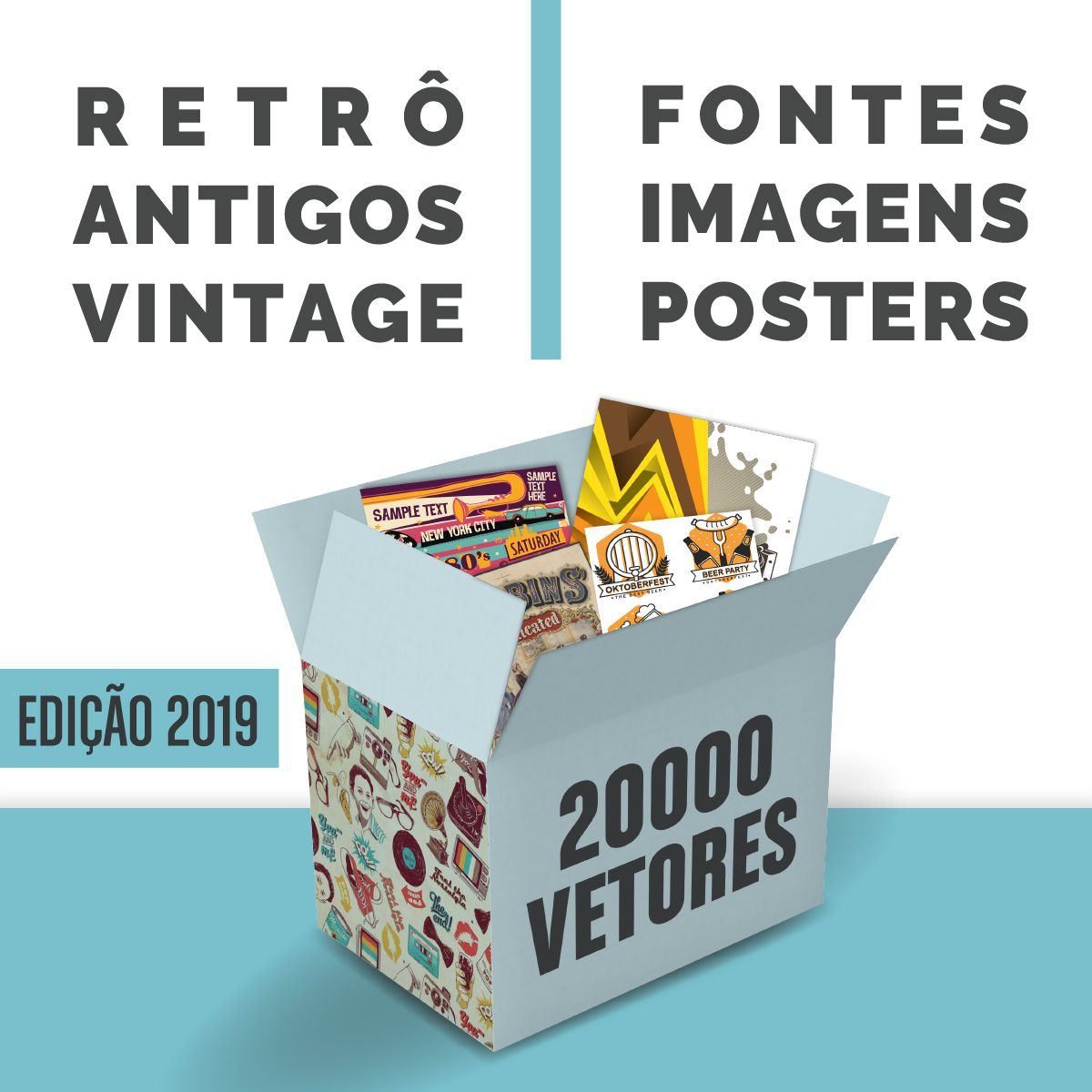 20.000 Vetores Retrô Antigos Vintage Fontes Imagens Posters