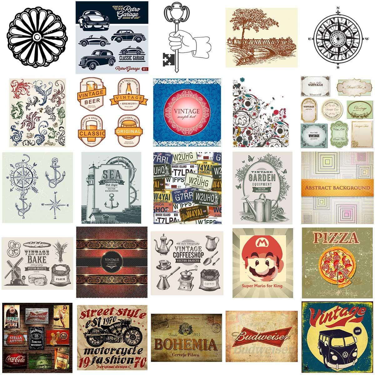20.000 Vetores Retrô Antigos Vintage Fontes Imagens Posters   - Aprova Cursos