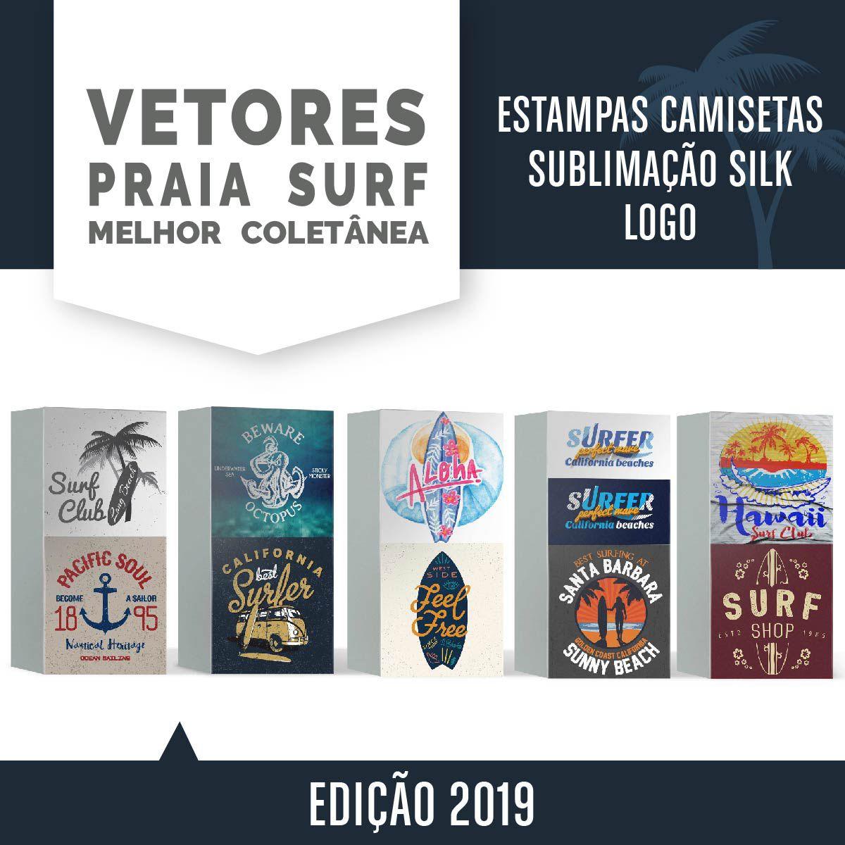 215 Vetores Praia Surf Estampa Camiseta Sublimação Silk Logo