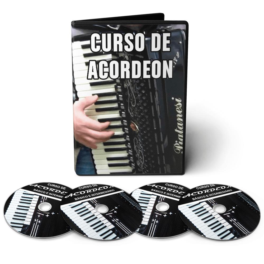 Curso Completo de Acordeon / Sanfona - Básico ao Avançado em 06 DVDs Interativo / Videoaula