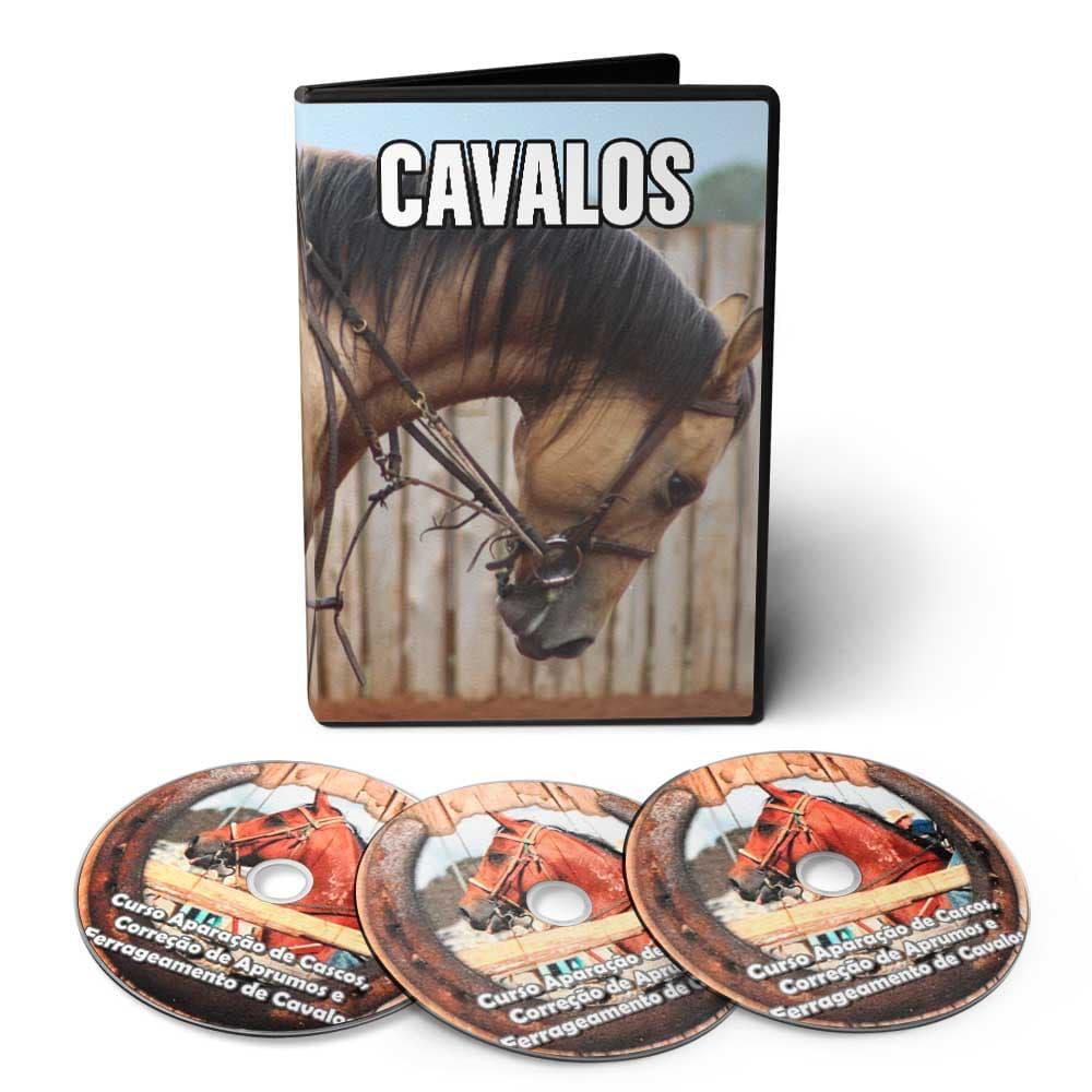 Curso de Aparação de Cascos, Correção de Aprumos, Ferrageamento de Cavalos e Treinamento de Rédeas em 03 DVDs Videoaula  - Aprova Cursos
