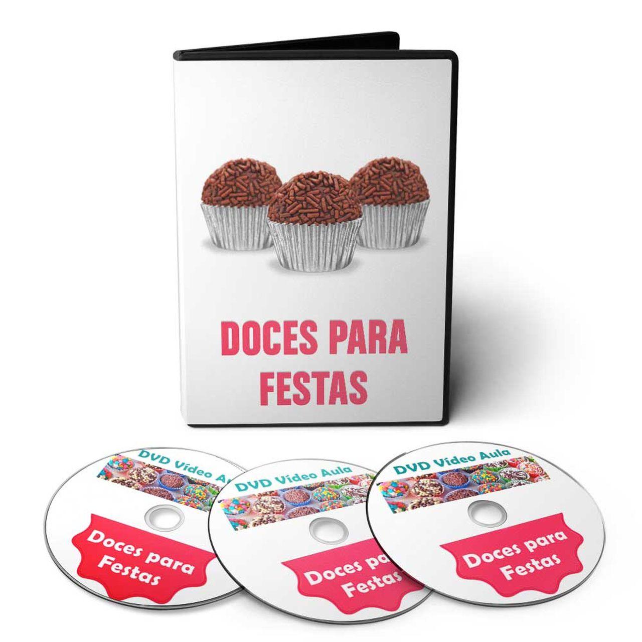 Curso de Culinária: Bolos Decorados, Doces e Salgados para Festas em 03 DVDs Videoaula