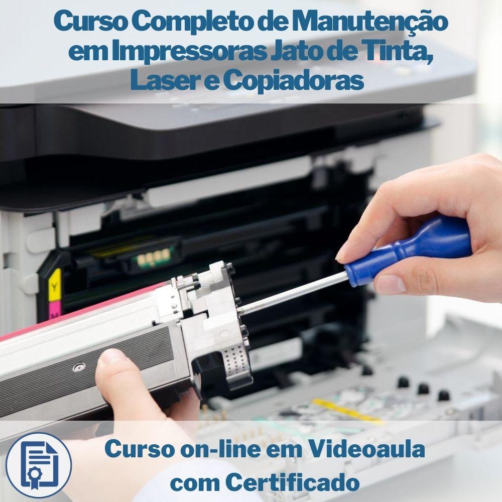 Curso on-line em videoaula Completo de Manutenção em Impressoras Jato de Tinta, Laser e Copiadoras com Certificado