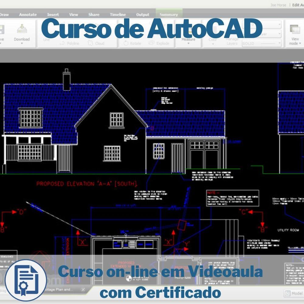 Curso on-line em videoaula de AutoCAD com Certificado  - Aprova Cursos