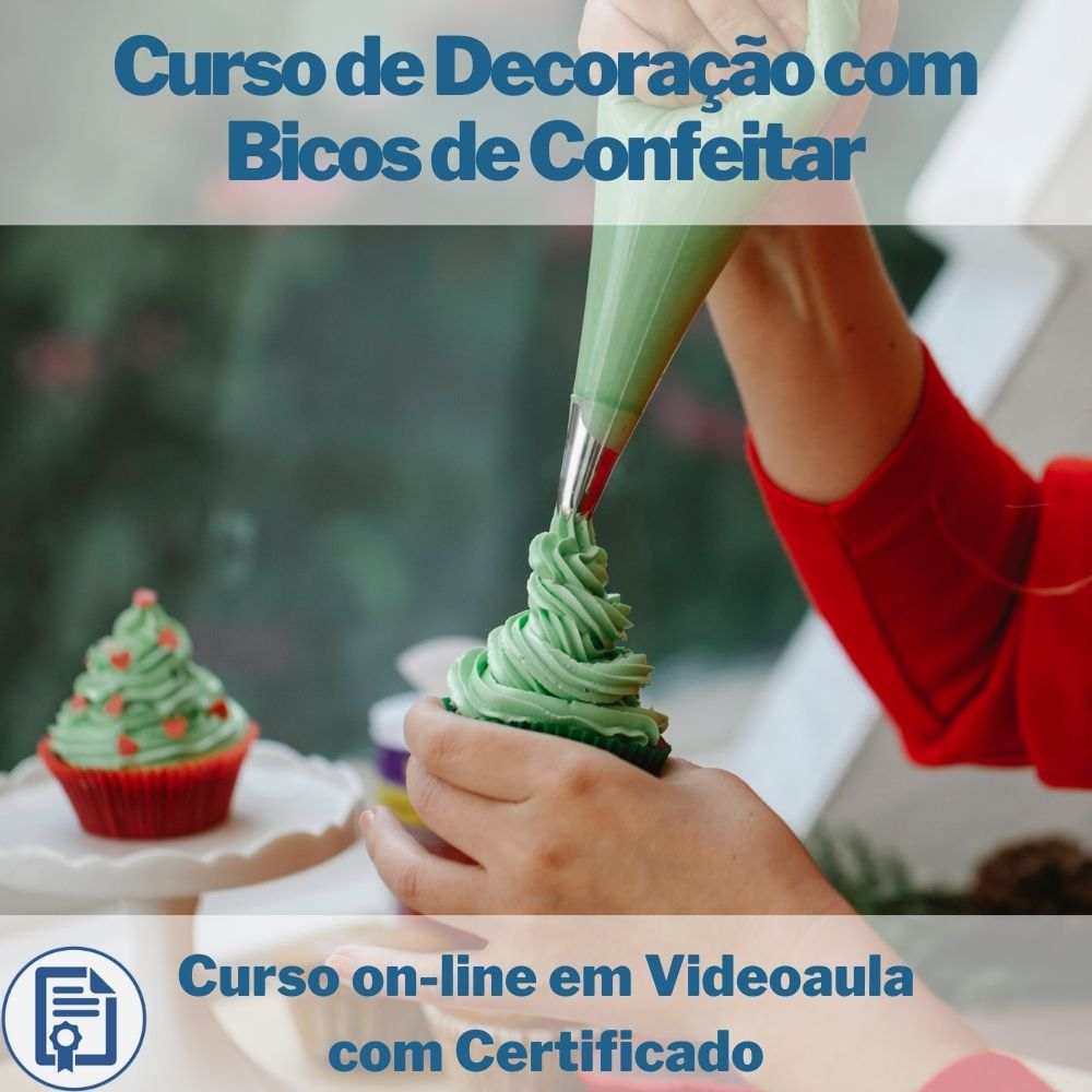 Curso on-line em videoaula de Decoração com Bicos de Confeitar com Certificado