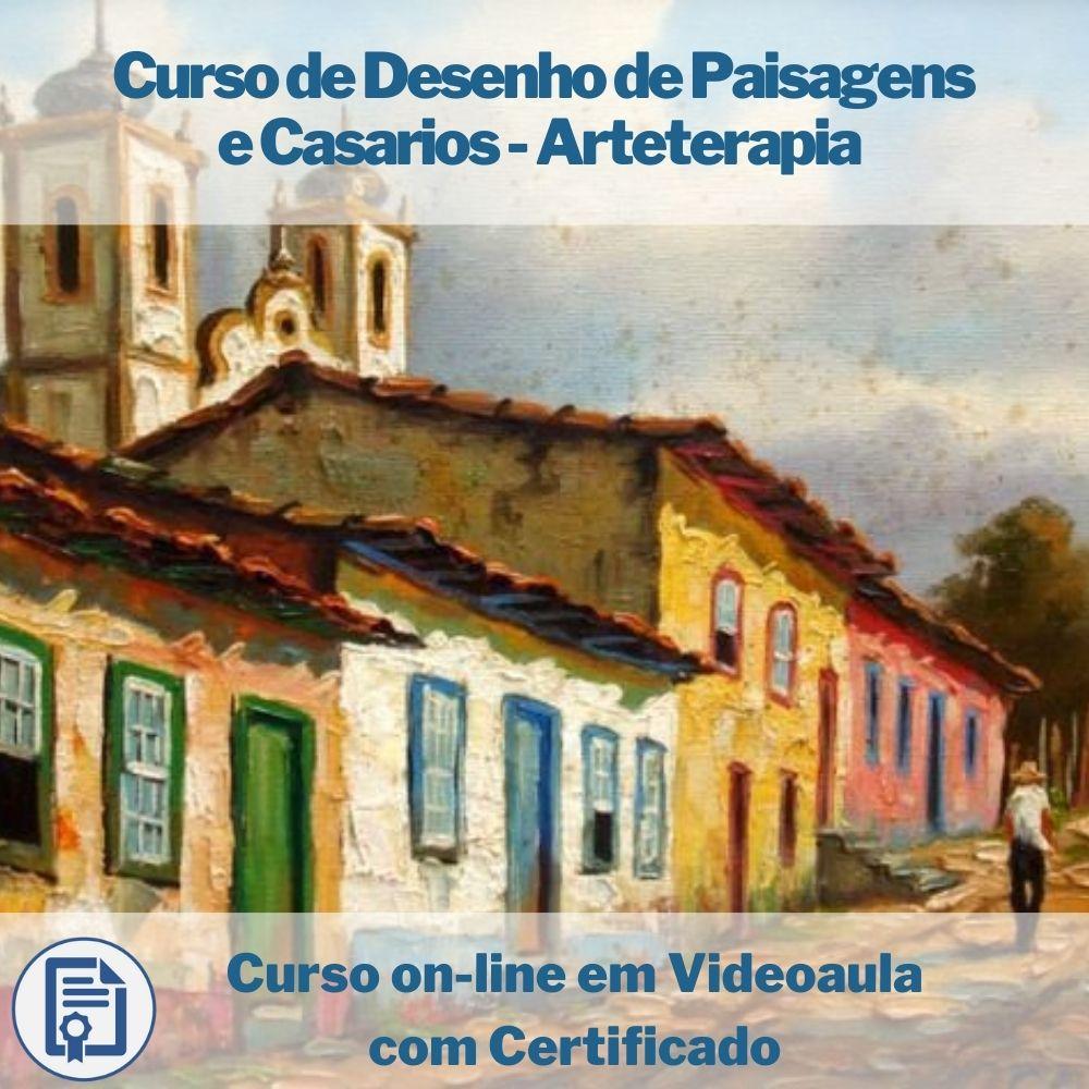 Curso on-line em videoaula de Desenho de Paisagens e Casarios - Arteterapia com Certificado