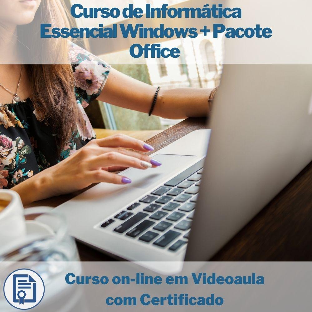 Curso on-line em videoaula de Informática Essencial Windows + Pacote Office com Certificado