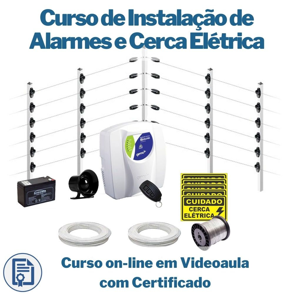 Curso on-line em videoaula de Instalação de Alarmes e Cerca Elétrica com Certificado