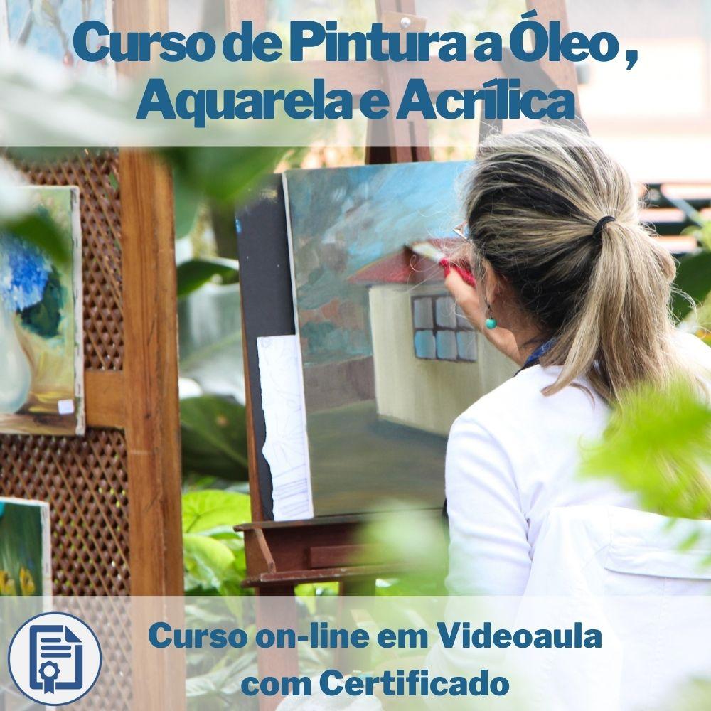 Curso on-line em videoaula de Pintura em Tela a Óleo , Aquarela e Acrílica com Certificado