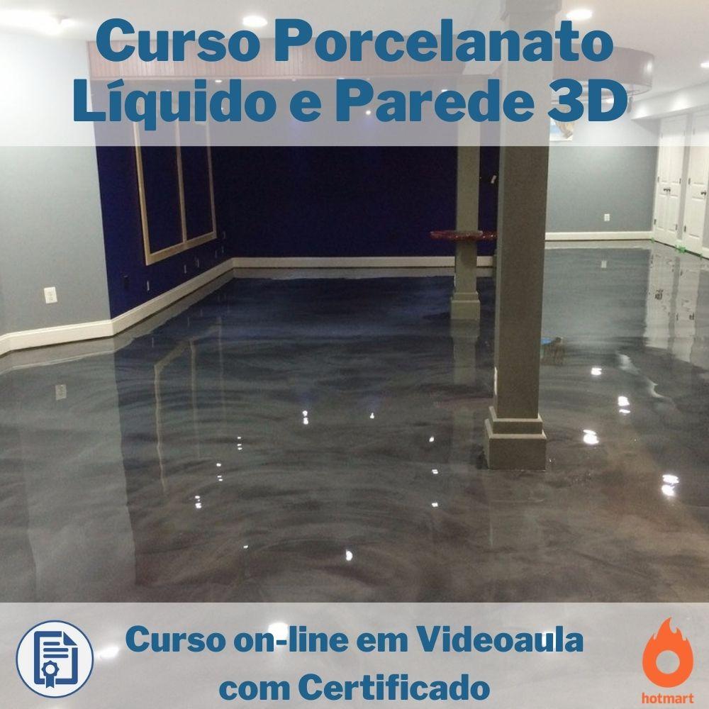 Curso on-line em videoaula Porcelanato Líquido e Parede 3D com Certificado