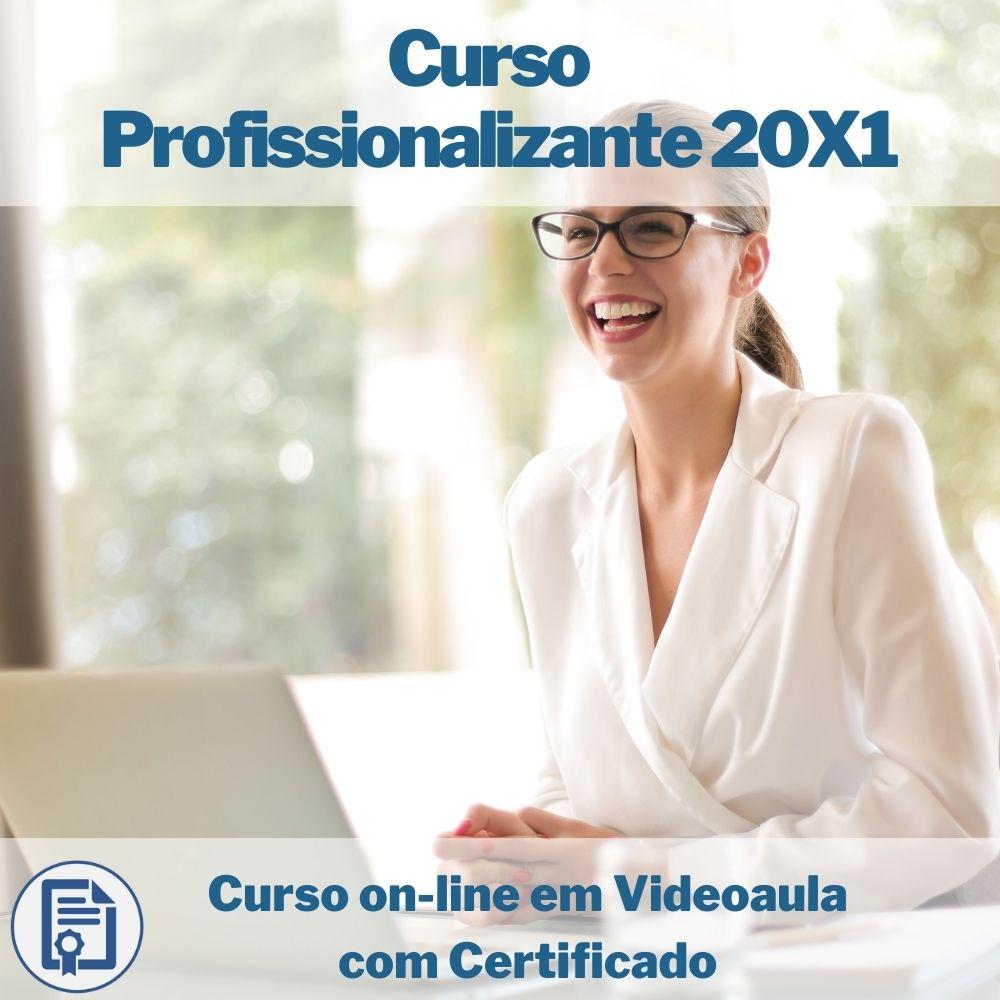 Curso on-line em videoaula Profissionalizante 20x1: Auxiliar Administrativo, Atendente, Auxiliar de Farmácia, Op. de Caixa e Op. de Telemarketing com Certificado