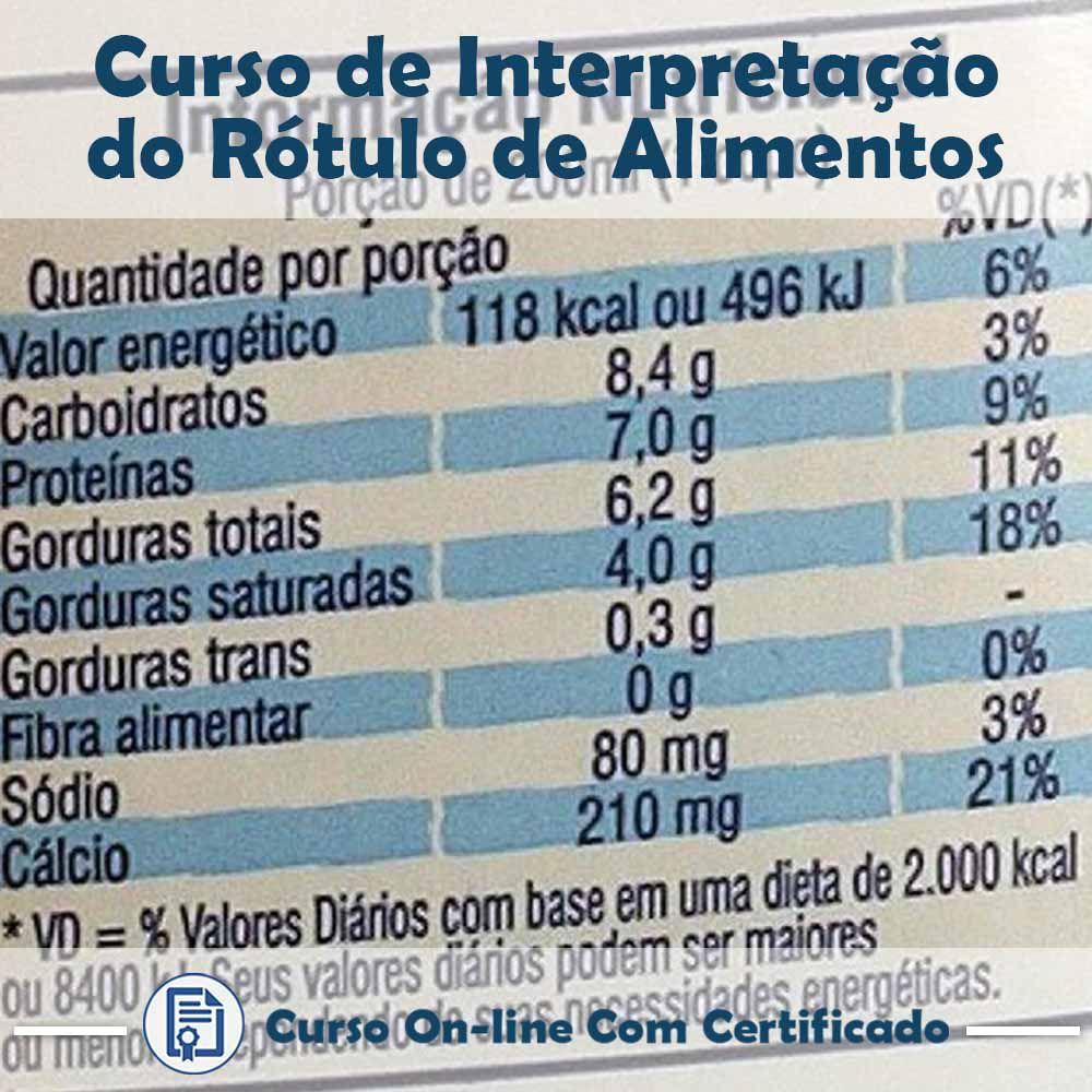 Curso Online de Interpretação do Rótulo de Alimentos com Certificado