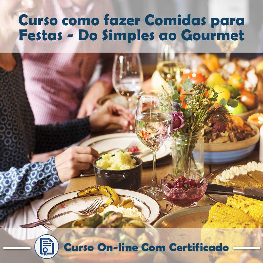 Curso online em videoaula de Comidas para Festas, do Simples ao Gourmet com Certificado
