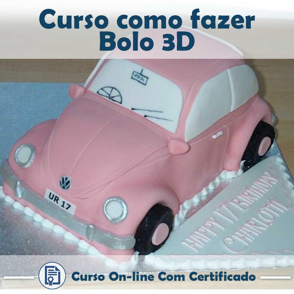 Curso online em videoaula de como fazer Bolo 3D com Certificado