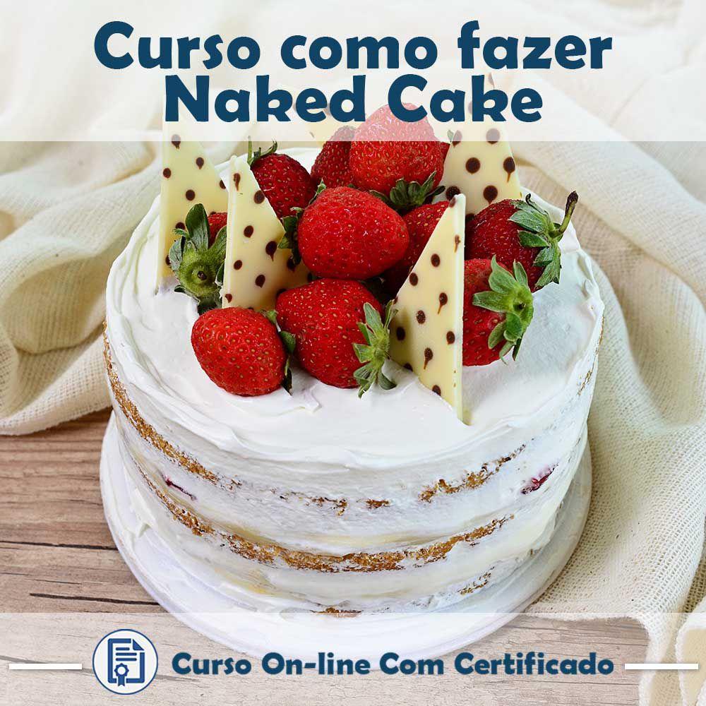 Curso online em videoaula de como fazer Naked Cake com Certificado