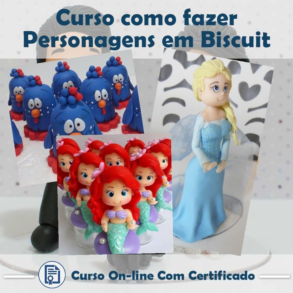 Curso online em videoaula de como fazer Personagens em Biscuit com Certificado