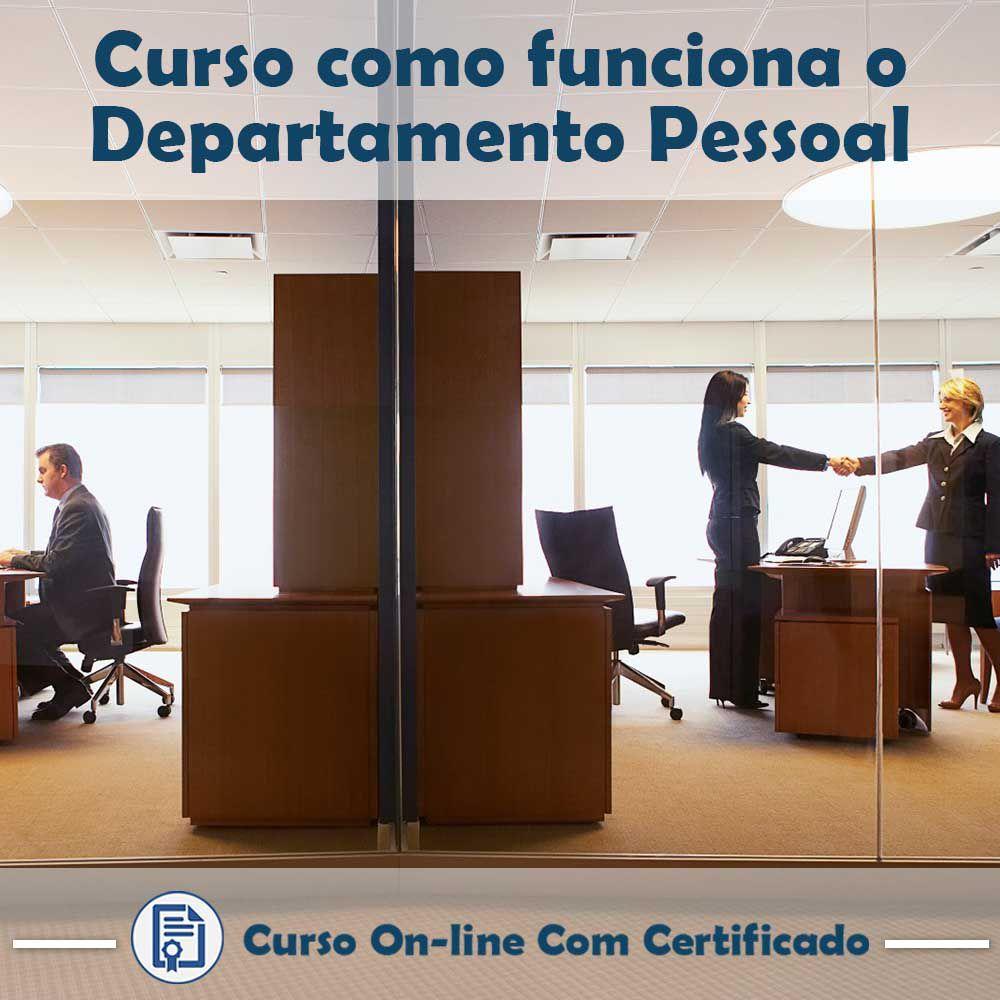 Curso online em videoaula de como funciona Departamento Pessoal com Certificado