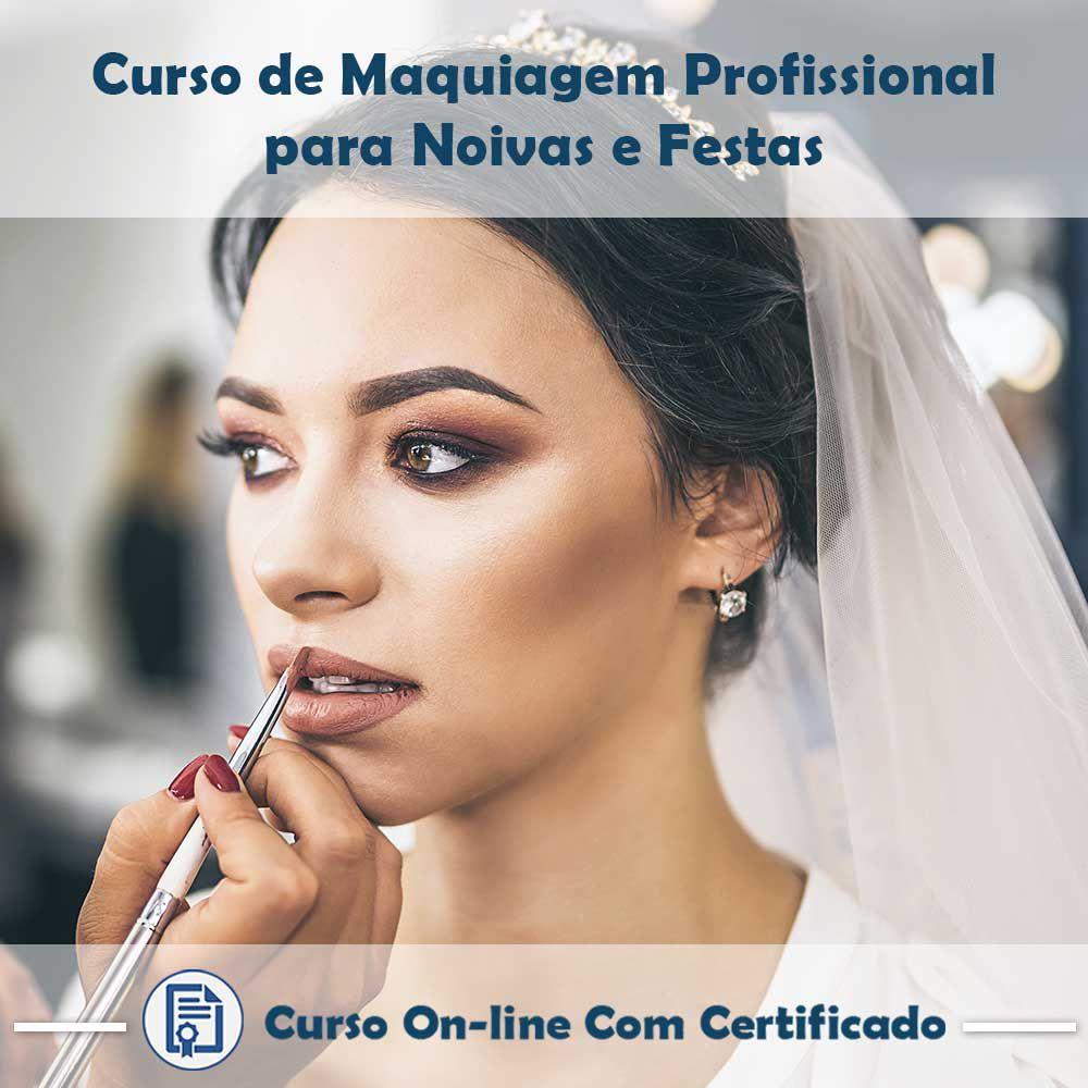 Curso online em videoaula de Maquiagem Profissional para Noivas e Festas com Certificado  - Aprova Cursos