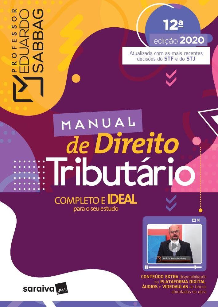 Livro Manual De Direito Tributário - 12ª Ed. 2020  - Aprova Cursos