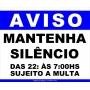 PLACA - AVISO MANTENHA SILÊNCIO 30X20CM AZ